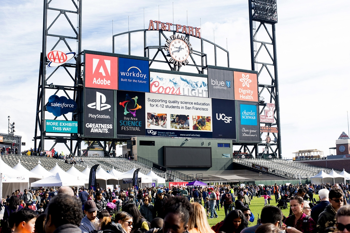 A view of sponsors billboards at AT&T Park
