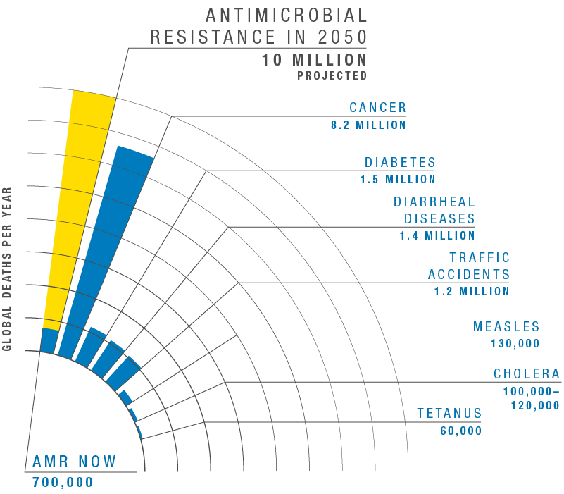 Image of bar graph. Vertical axis label: Global deaths per year. Vertical bars labeled, from left to right: Antimicrobial resistance in 2050 – 10 million projected; AMR now – 700,000; Cancer – 8.2 million; Diabetes – 1.5 million; Diarrheal diseases – 1.4 million; Traffic accidents – 1.2 million; Measles – 130,000; Cholera – 100,000 to 120,000; Tetanus – 60,000.