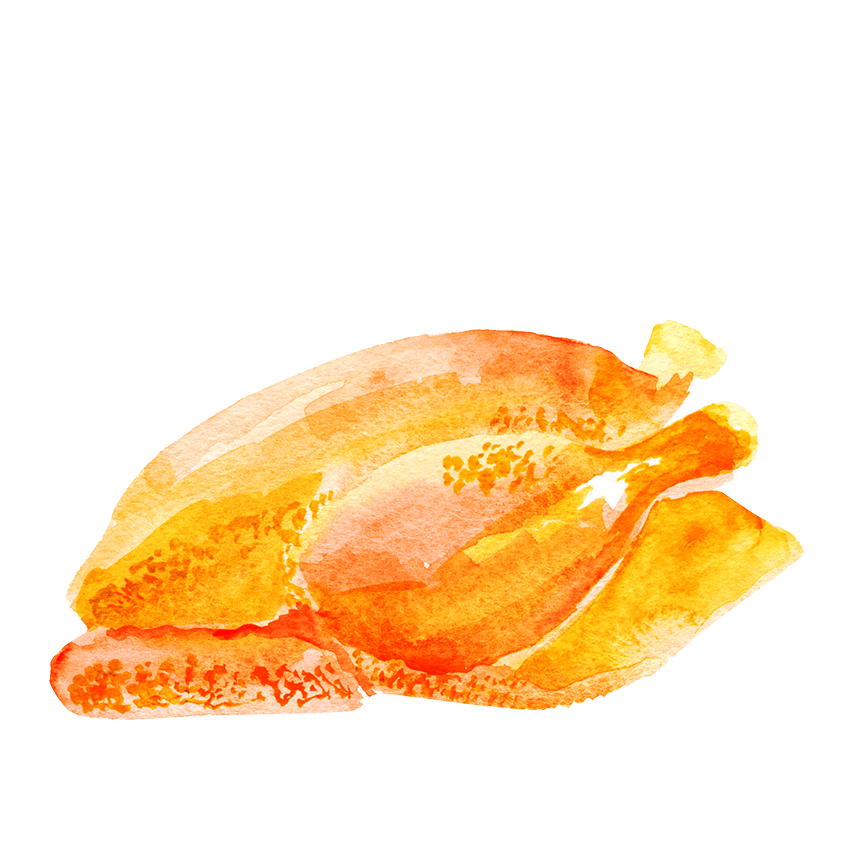 Watercolor illustration of a whole roast chicken.