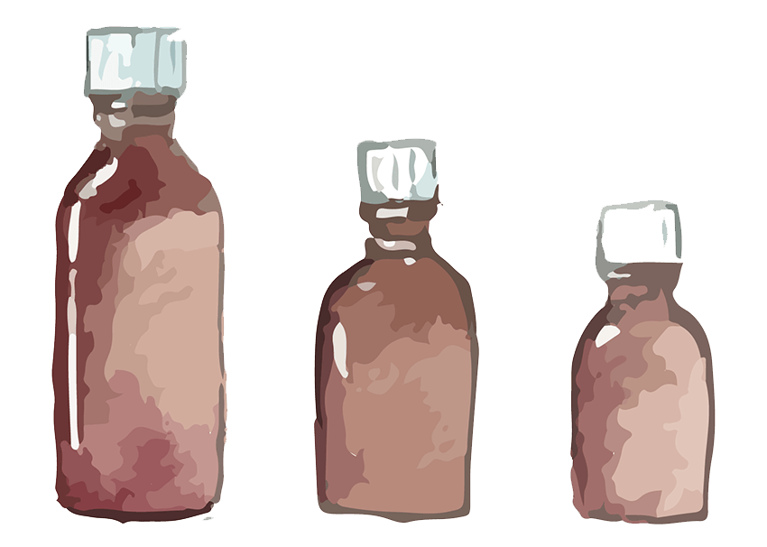 Watercolor illustration of three brown medicine bottles, arranged largest to smallest.