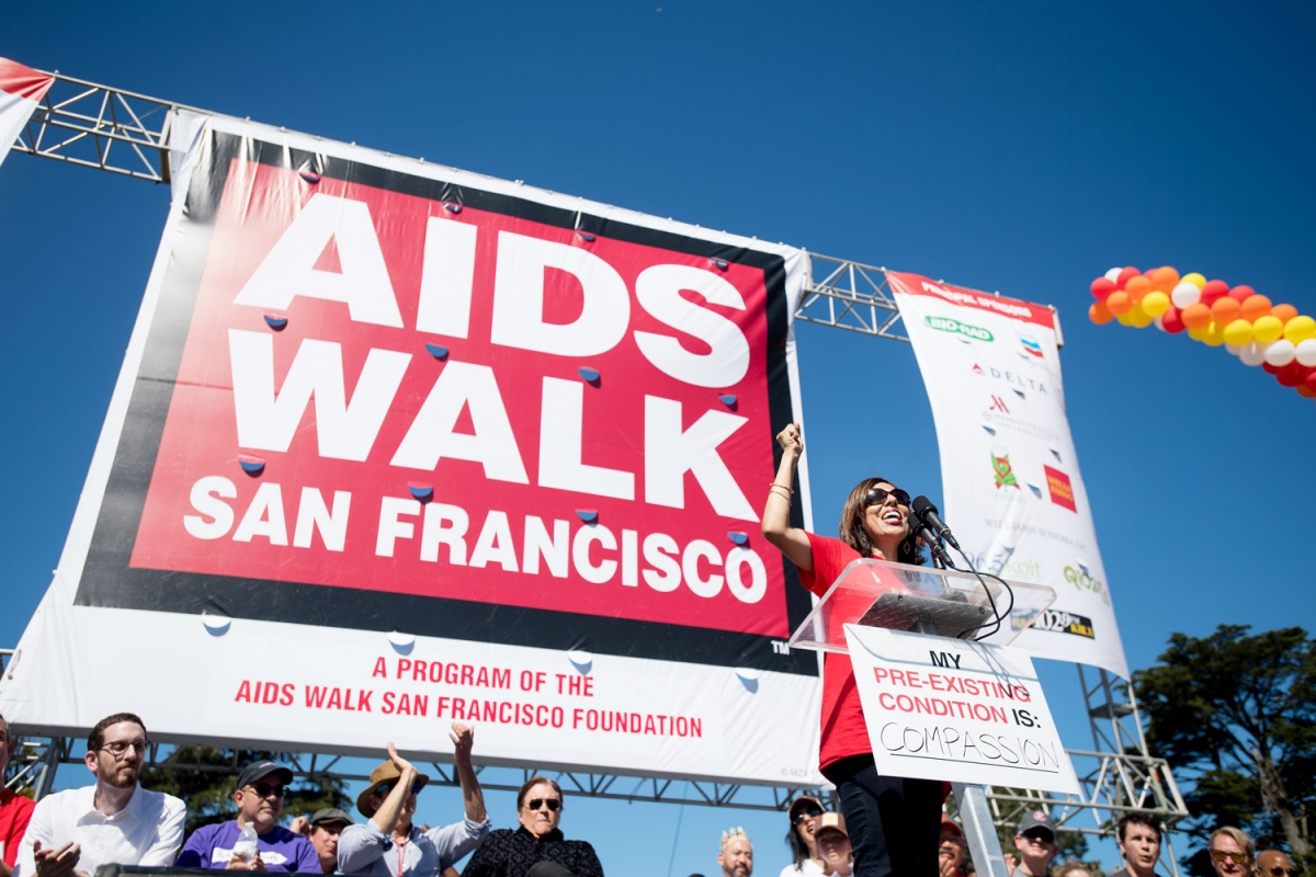 Monica Gandhi, MD, MPH, medical director of Zuckerberg San Francisco General Hospital's HIV Clinic, known as Ward 86, speaks during the opening ceremony for the 2017 AIDS Walk San Francisco