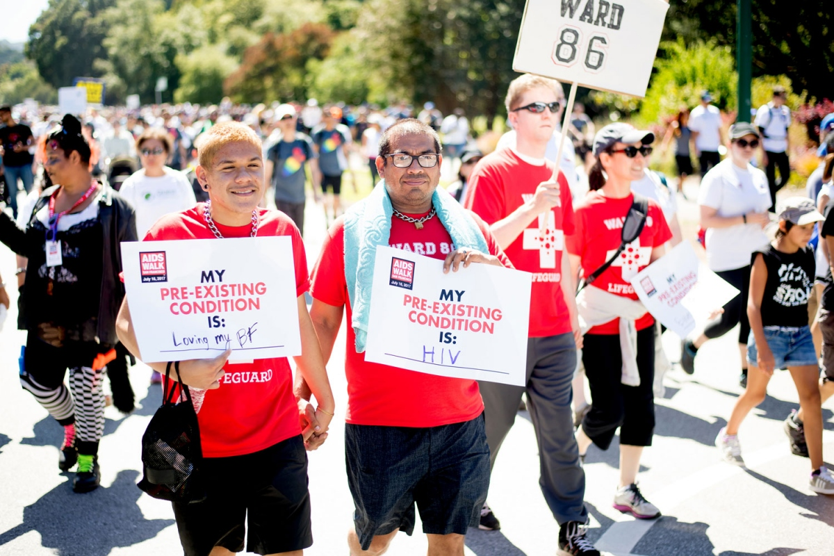 Timothy Stone joins AIDS Walk contingent with his boyfriend Luis Reyes
