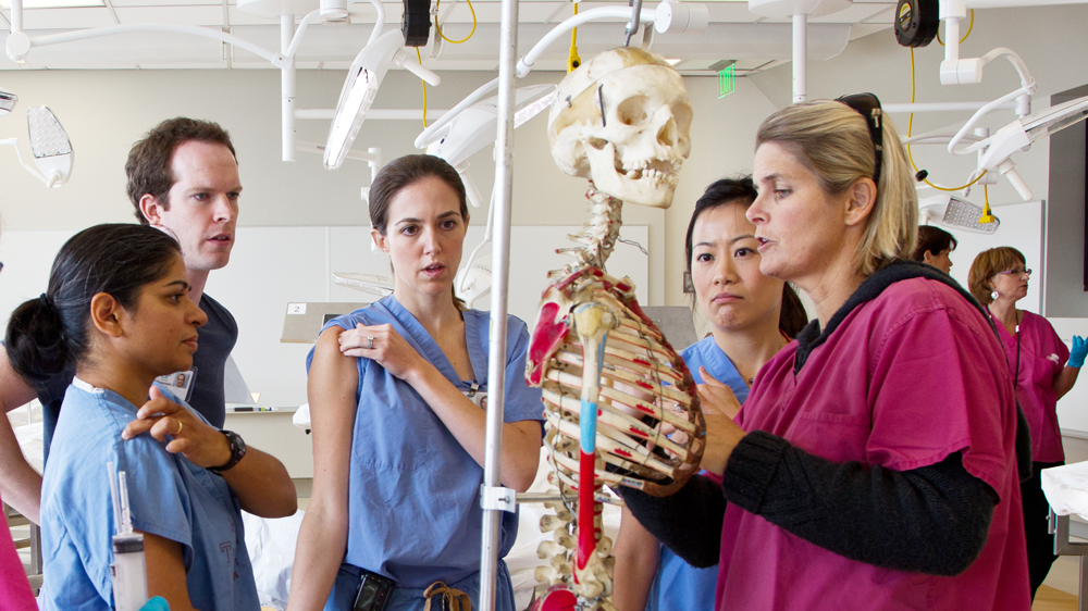 Students learn about the human skeleton in the UCSF Anatomy Lab