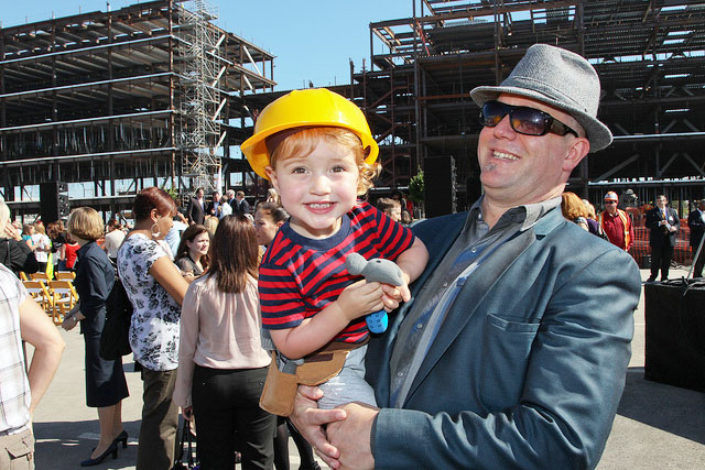UCSF supporters celebrate at the Topping Off Ceremony for UCSF Medical Center at Misssion Bay