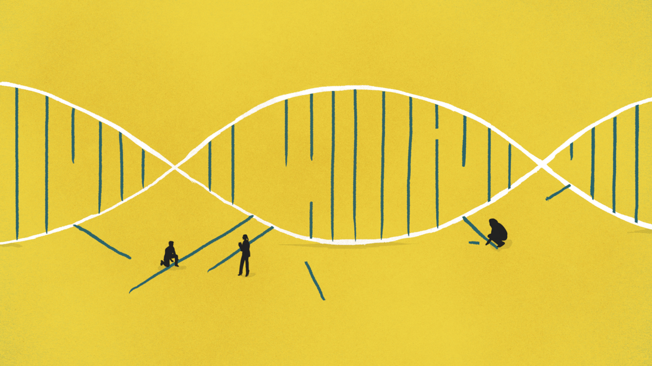 An illustration of scientists piecing together strands of DNA