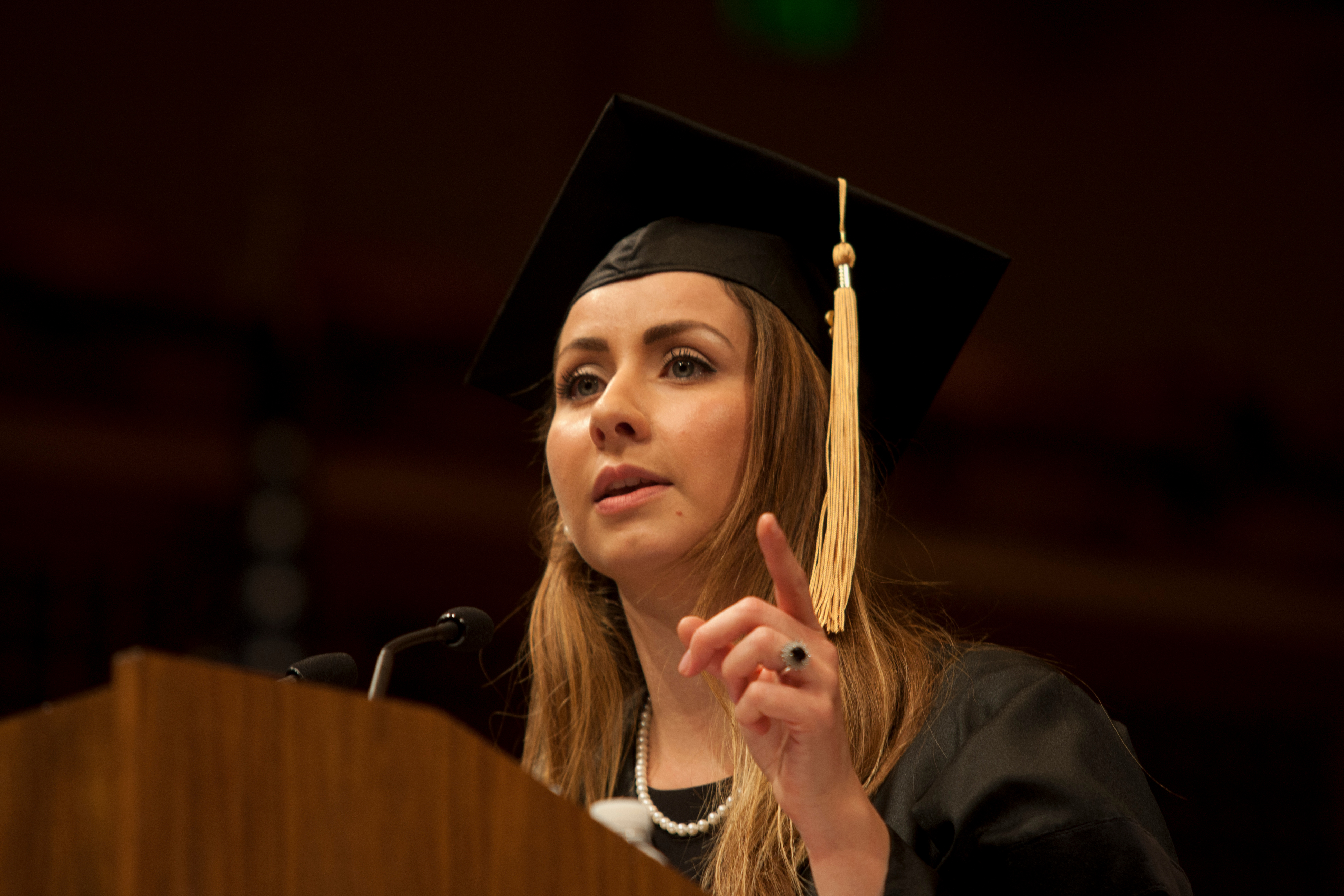 Dental student Maria Ajlouny delivers the student address at the School of Dentistry's commencement.