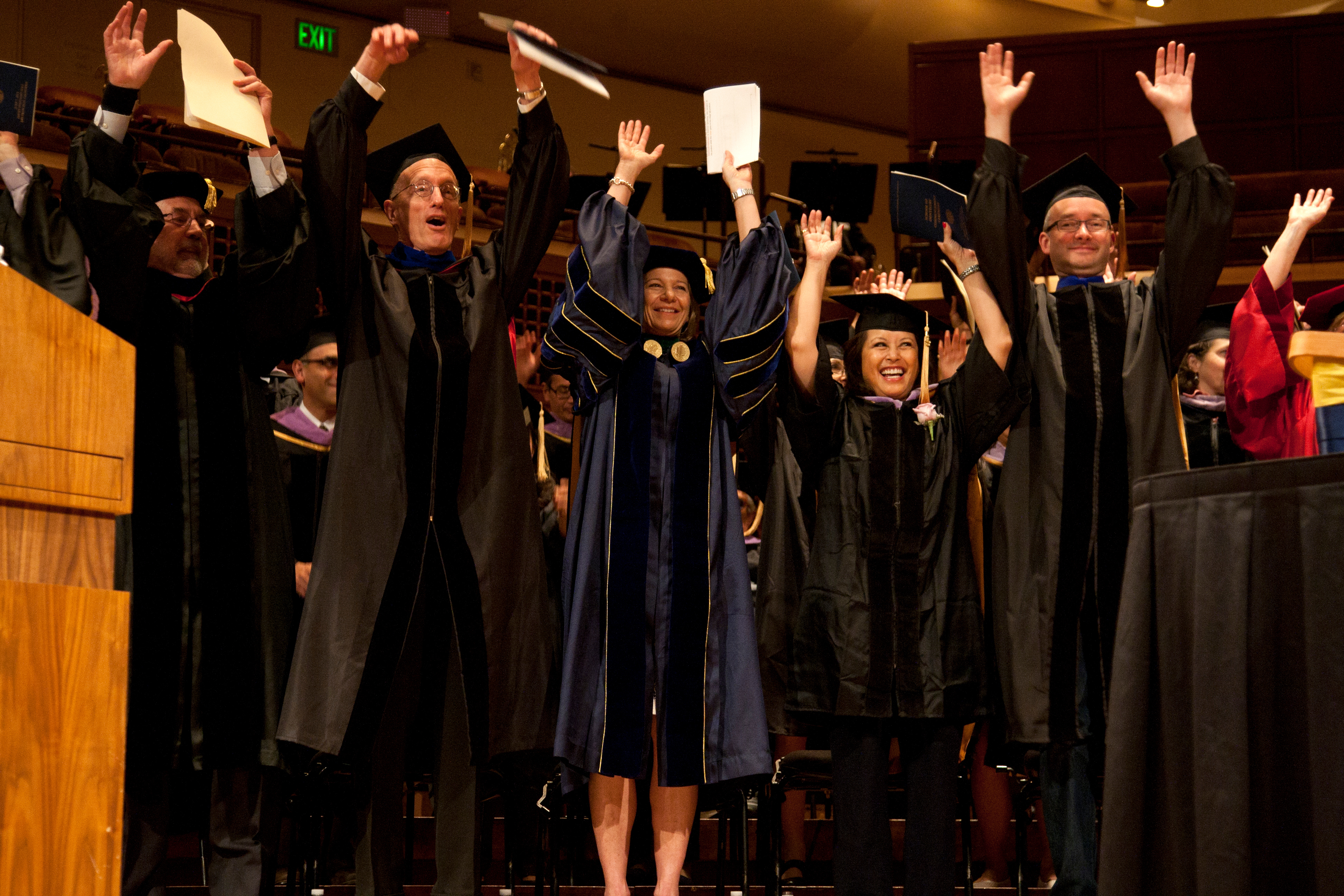 UCSF Chancellor Susan Desmond-Hellmann, MD, MPH, was among those to participate in a wave during the School of Dentistry's commencement ceremony.