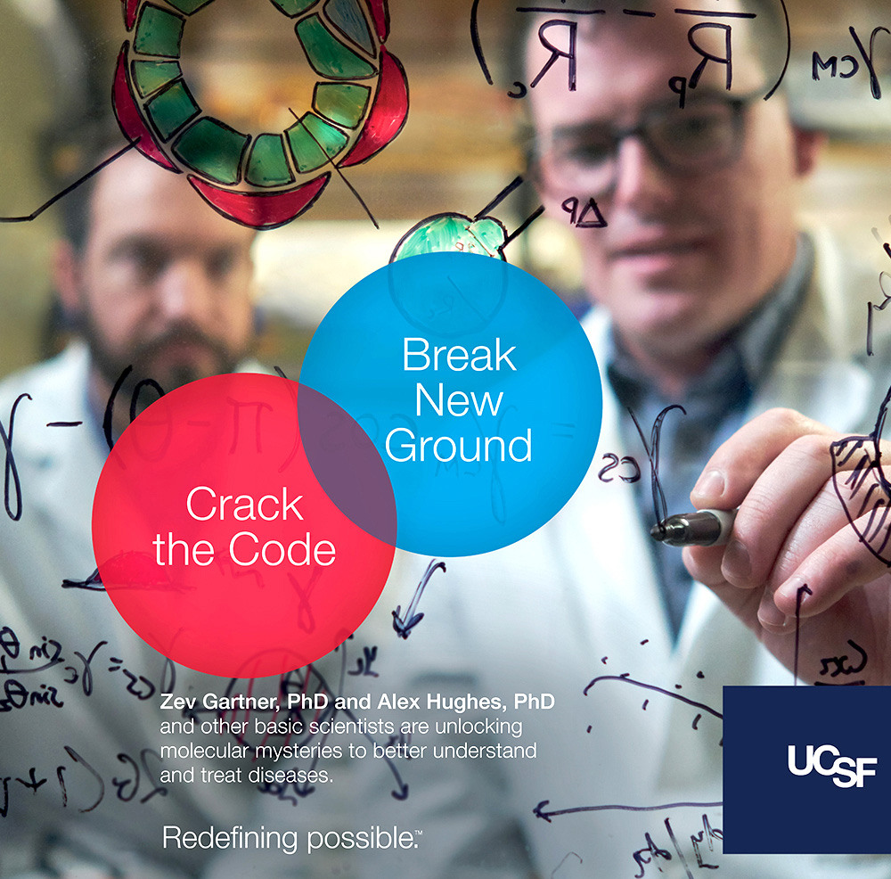 UCSF advertisement showing two researchers writing equations. Text reads: Crack the code, break new ground.
