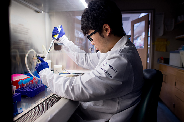 Student works at a range to pipette a sample