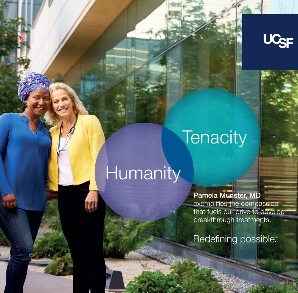 UCSF advertisement showing UCSF doctor and patient. Text reads: Humanity, tenacity.
