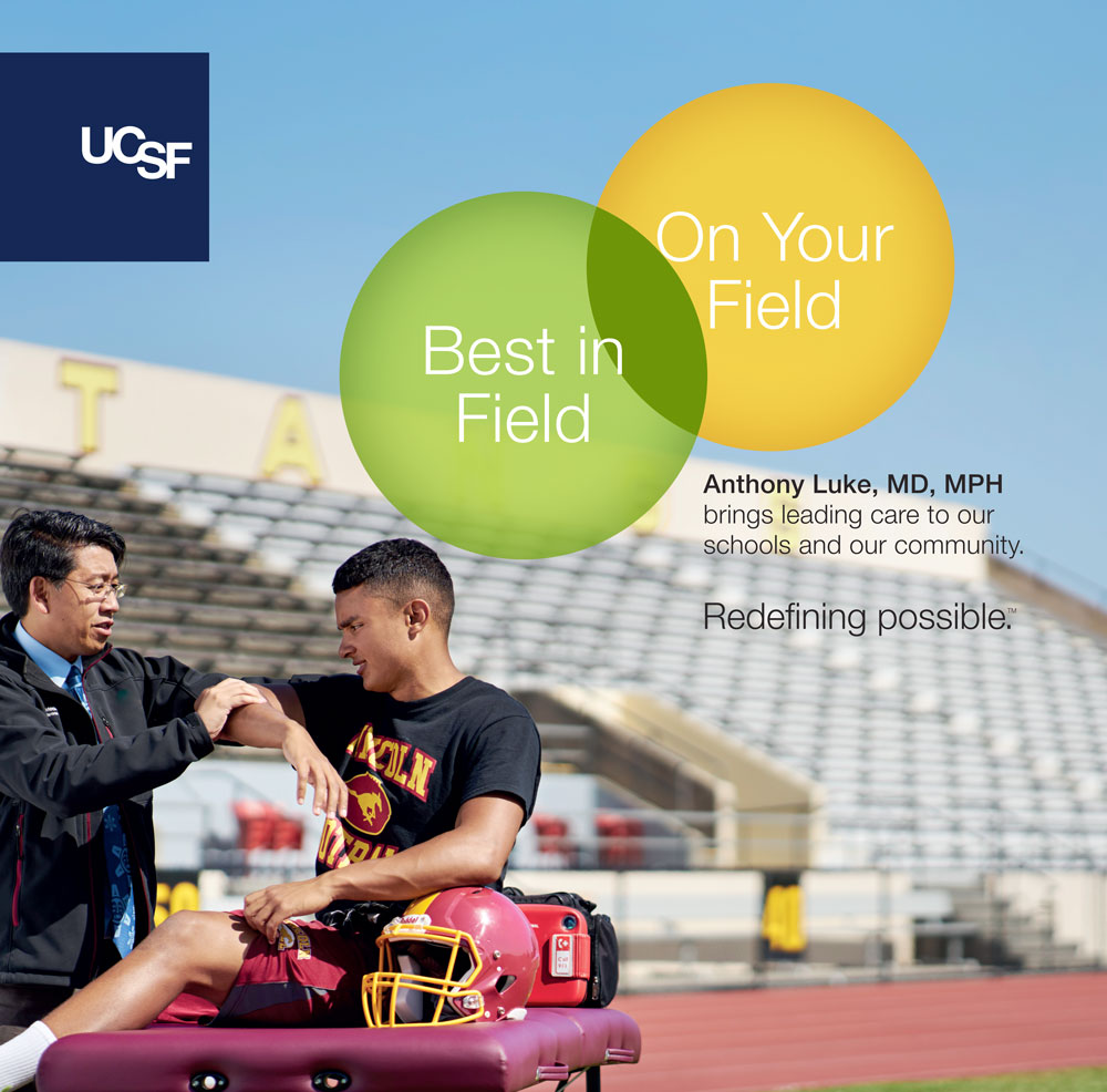 UCSF advertisement showing a doctor helping a teen football player on the field. Text reads: Best in field, on your field