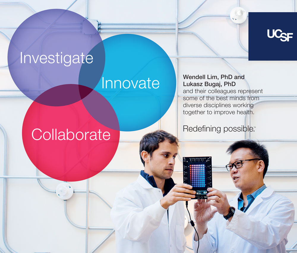 UCSF advertisement showing two scientists holding a device. Text reads: Investigate, Innovate, Collaborate
