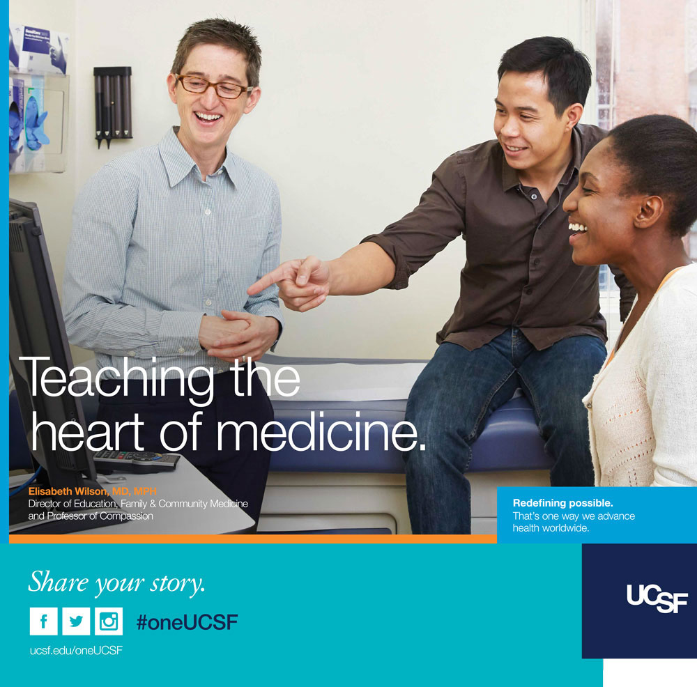UCSF ad showing professor Beth Wilson laughing with two students. Text reads: Teaching the heart of medicine.