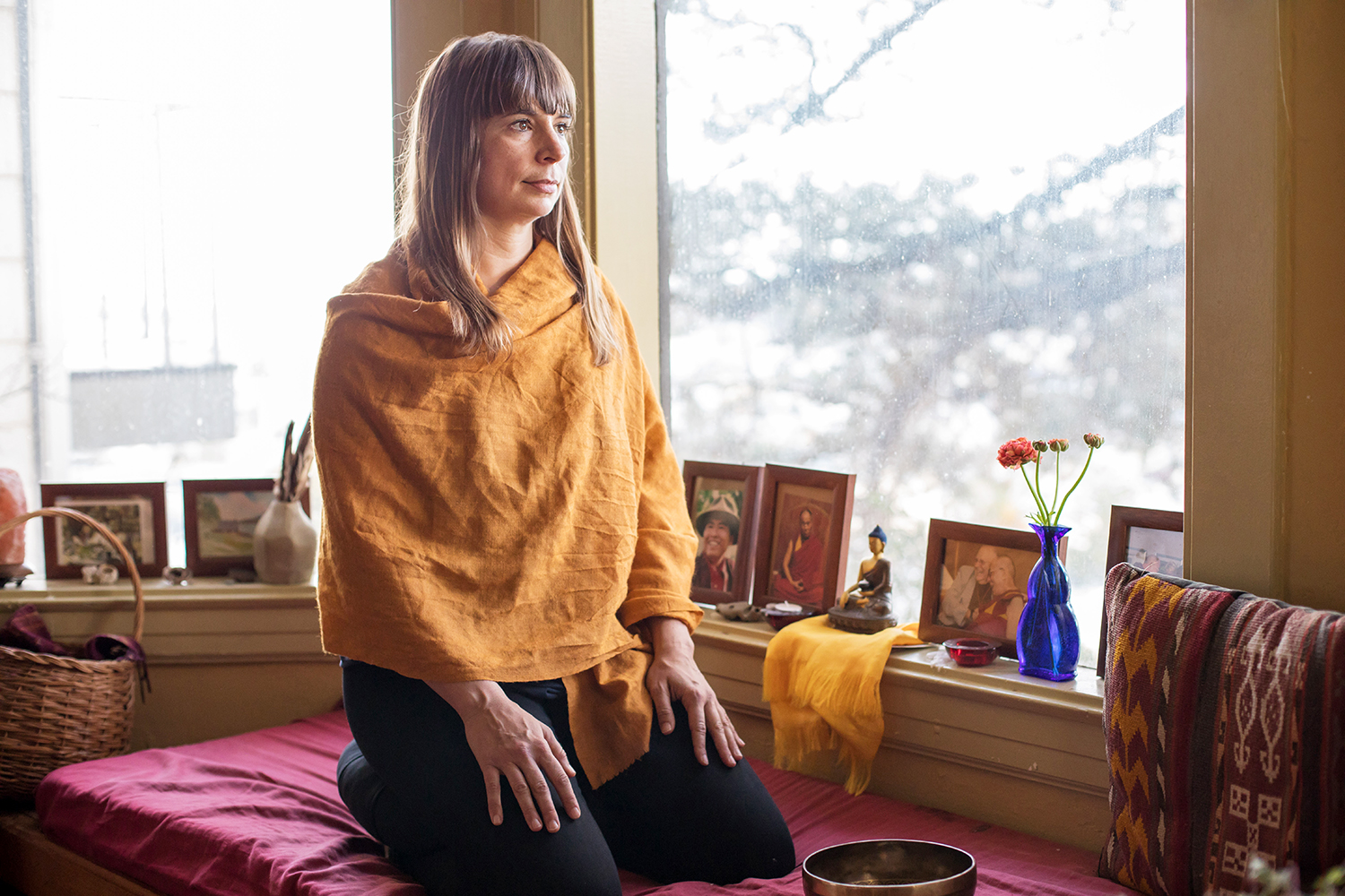 Eve Ekman sits in the meditation area of her San Francisco house