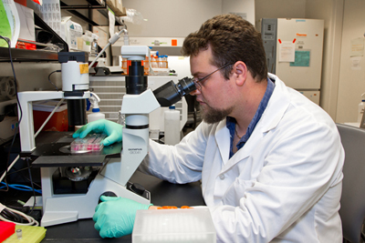 Cody Kime, a research associate II, works in the Yamanaka Lab