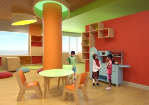 Play room in the UCSF Benioff Children's Hospital at Mission Bay