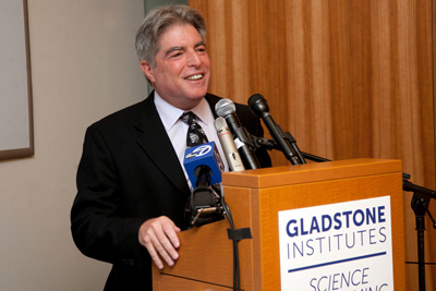UCSF Executive Vice Chancellor and Provost Jeffrey Bluestone speaks at a press c