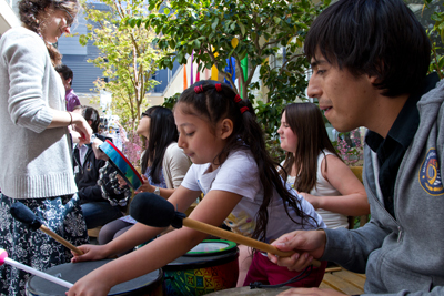 Kids play drums at UCSF Benioff Children's Hospital