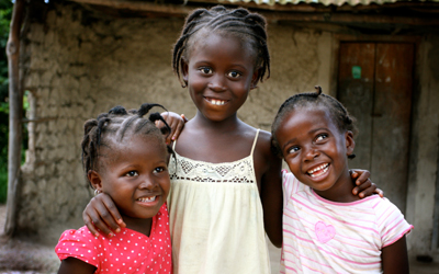 Stock photo of three little girls from Liberia, West Africa