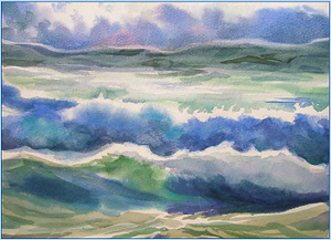 Peggy Cadbury's 2007 watercolor titled Pacific Breakers