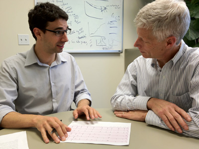 Reto Auer, left, and Douglas Bauer, discuss a patient's EKG results at UCSF Chin