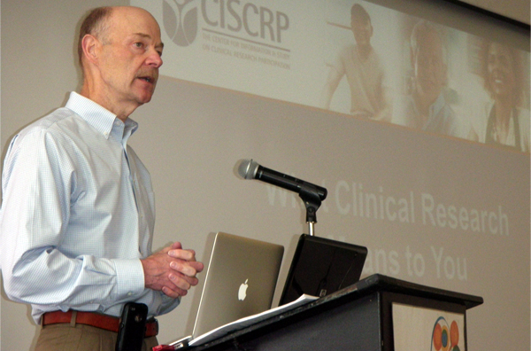 Bill Balke, MD, delivers the opening presentation at a recent event at UCSF.