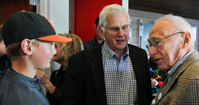 Bruce Alberts, center, with grandson Aidan and David Perlman