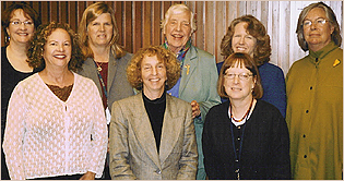 Members of the UCSF Chancellor's Advisory Committee on the Status of Women pose for a group interview in April 2004. They are, from left, Ruth Greenblatt, Barbara Gerbert, Sally Marshall, Amy Levine, Virginia Olesen, Ruth Weiller, Mary Croughan and Diane Wara.