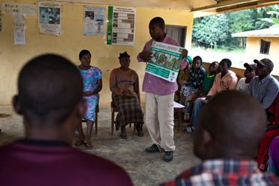A Metabiota staff member conducting safety training in Cameroon.