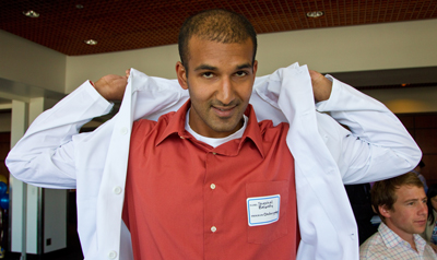 Resident Shethal Bearelly gets his white coat.