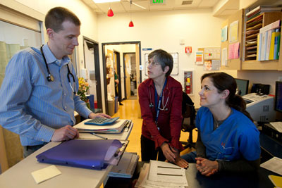 Steven DuBois, assistant professor of pediatrics, and Kate Matthay, professor of