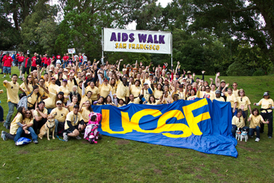 UCSF's team poses for a photo before the 2011 AIDS Walk San Francisco.