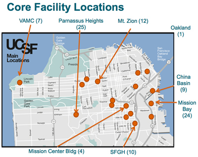 Core Facility Locations Map