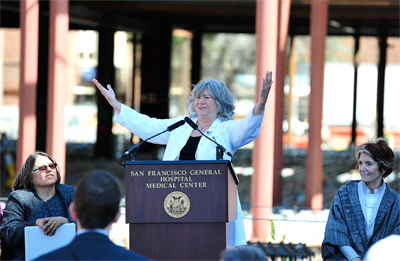UCSF Associate Dean Sue Carlisle, MD, PhD, celebrates the topping out at SFGH.