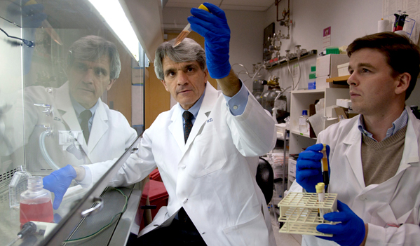 Stephen Hauser, MD, chair of the Department of Neurology, works with Pierre-Anto