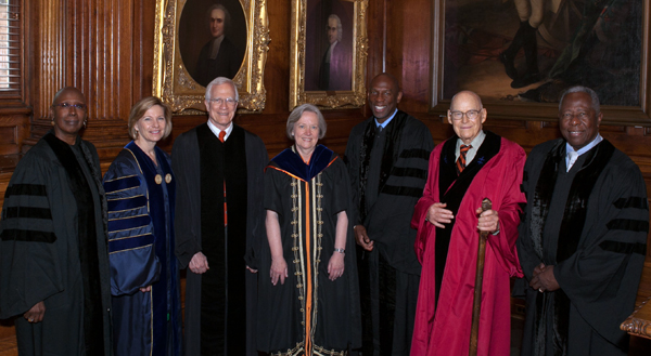 Group shot of honorees at Princeton University commencement.