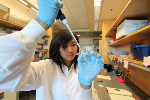 Julia Loi, a Lincoln High graduate and iGEM team member working this summer in t