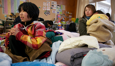 Families take shelter in Japan.