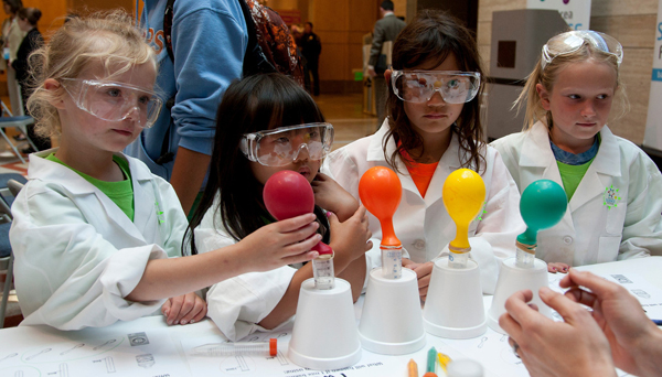 Girls participate in the kick-off for the Bay Area Science Festival in 2011.