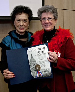 Mae Woo and Karen Rago, executive director at UCSF Medical Center.