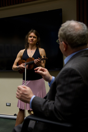 Heidi Clare Lambert performs at a recent workshop at UCSF.