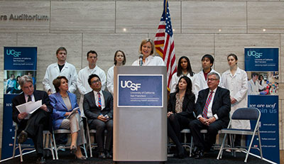 Diana Laird, an assistant professor, speaks at a news conference at UCSF Missi