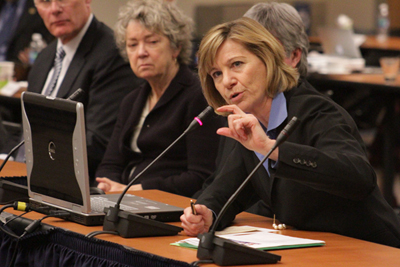 Chancellor Susan Desmond-Hellmann delivers her presentation to UC Regents.