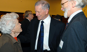 Francis Larragueta, Bill Rutter talks with William Rutter and Chancellor Mike Bishop