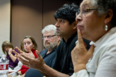 Sudeep M. Rao, PhD, talks with members of the Coordinating Council at SFGH.