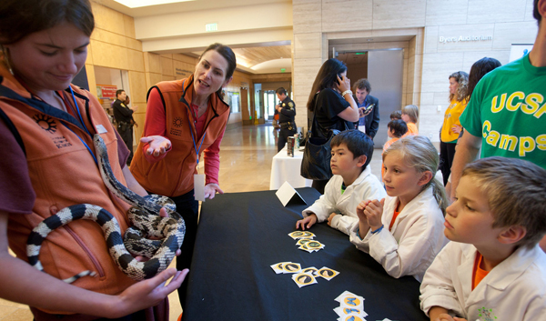 California Academy of Sciences staff show a Northern Pine Snake to children