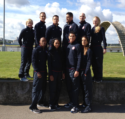UCSF's Christina Allen stands with the USA taekwondo team in London.