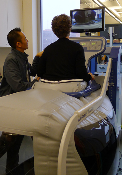 A person uses an anti-gravity treadmill at UCSF Mission Bay.