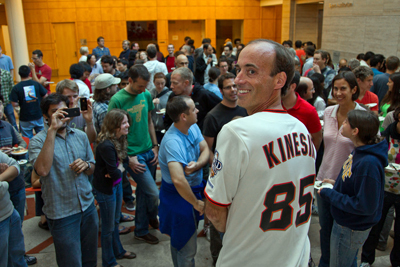 UCSF's Ronald Vale shows off his Giants shirt at his party on Tuesday