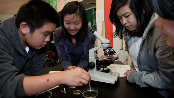 Students get a hands-on science lesson at Wallenberg High School.